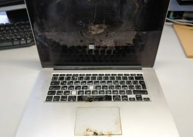 Потребительская экспертиза возгорания в ноутбуке Apple MacBook Pro 13 после выполненного ремонта